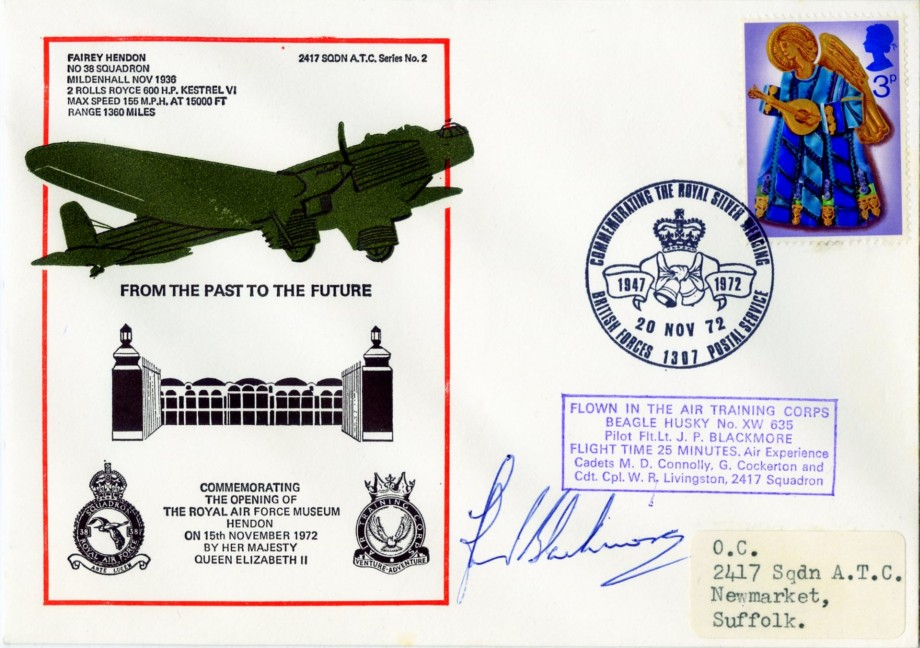 RAF Museum Hendon cover Sgd J P Blackmore