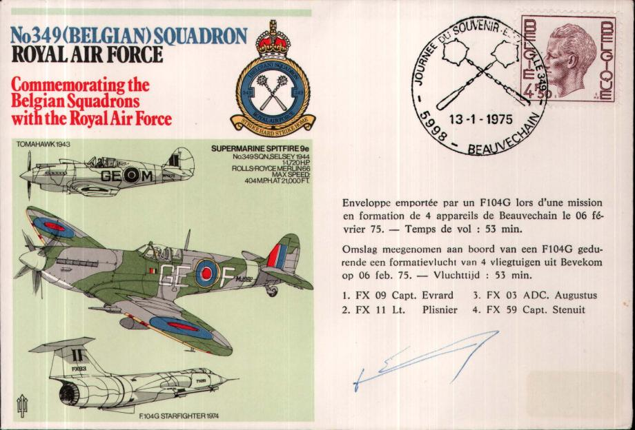 No 349 (Belgian) Squadron cover Signed by Cap Stenuit