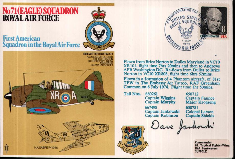 No 71(Eagle) Squadron cover Signed by Cpt D Jankowski USAF