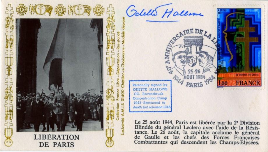 Liberation De Paris cover Sgd Odette Hallowes of the Resistance