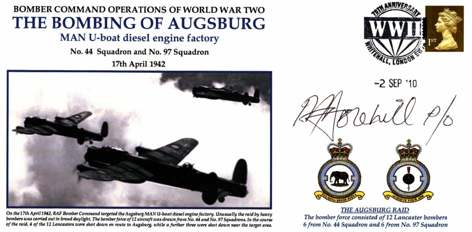 Bombing of Augsburg cover Sgd P A Dorehill of 44 Sq