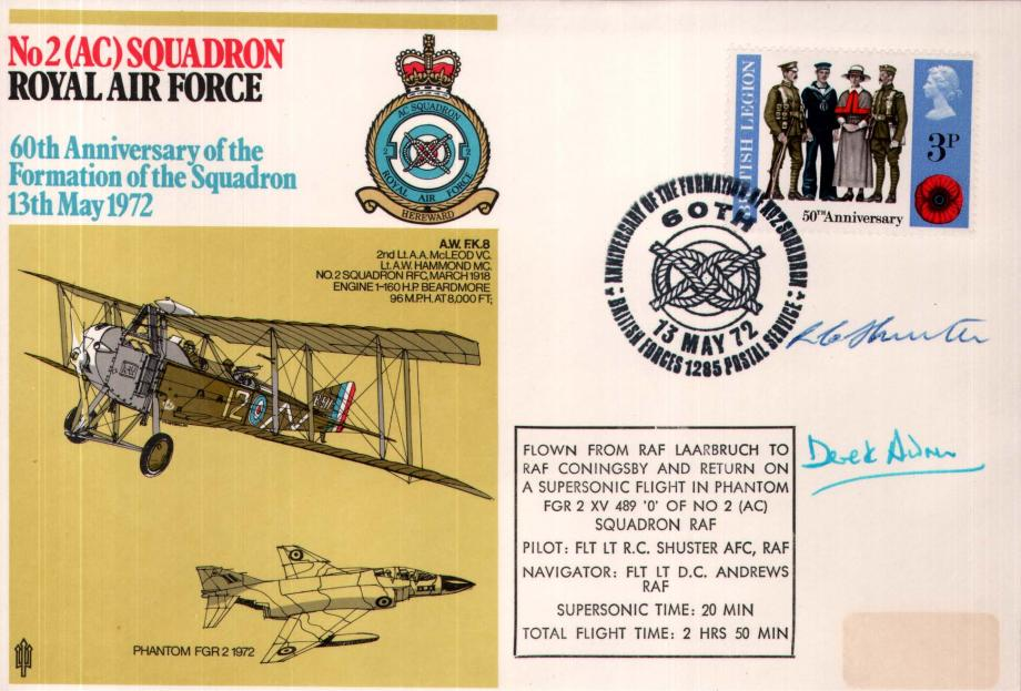No 2 (AC) Squadron cover Crew signed by R C Shuster and D C Andrews