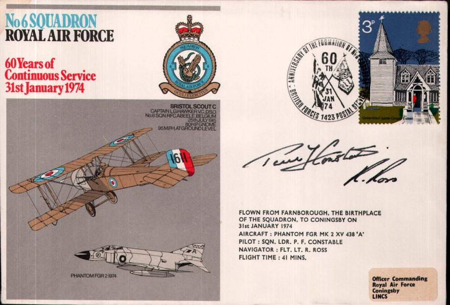 No 6 Squadron cover crew sgd P F Constable and R Ross