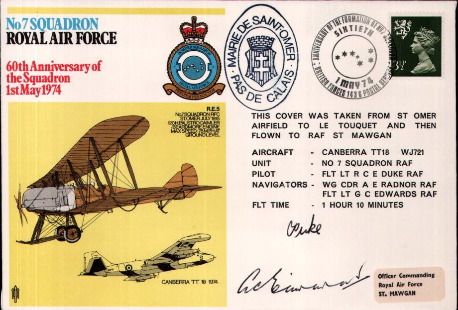 No 7 Squadron cover Crew signed Pilot Fl Lt R C E Duke  Navigator Fl Lt G C Edwards