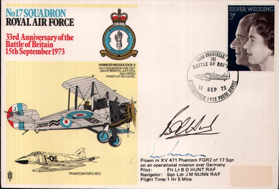 No 17 Squadron cover  Crew signed Pilot Fl Lt B D Hunt  Navigator Sq L J M Nunn
