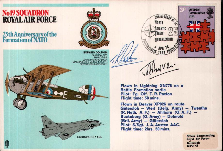 No 19 Squadron cover Signed by FO T R Paxton and S/Sgt J A Austen