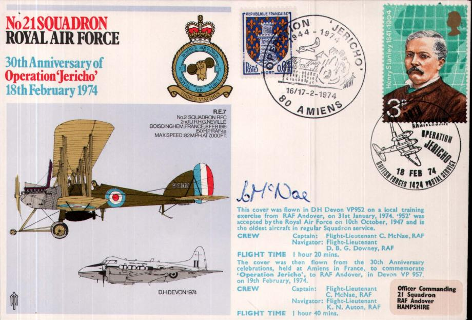 No 21 Squadron cover Captain signed by Fl Lt C McNae