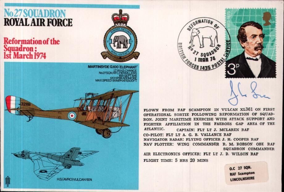 No 27 Squadron cover Signed by the captain Fl Lt J McLaren