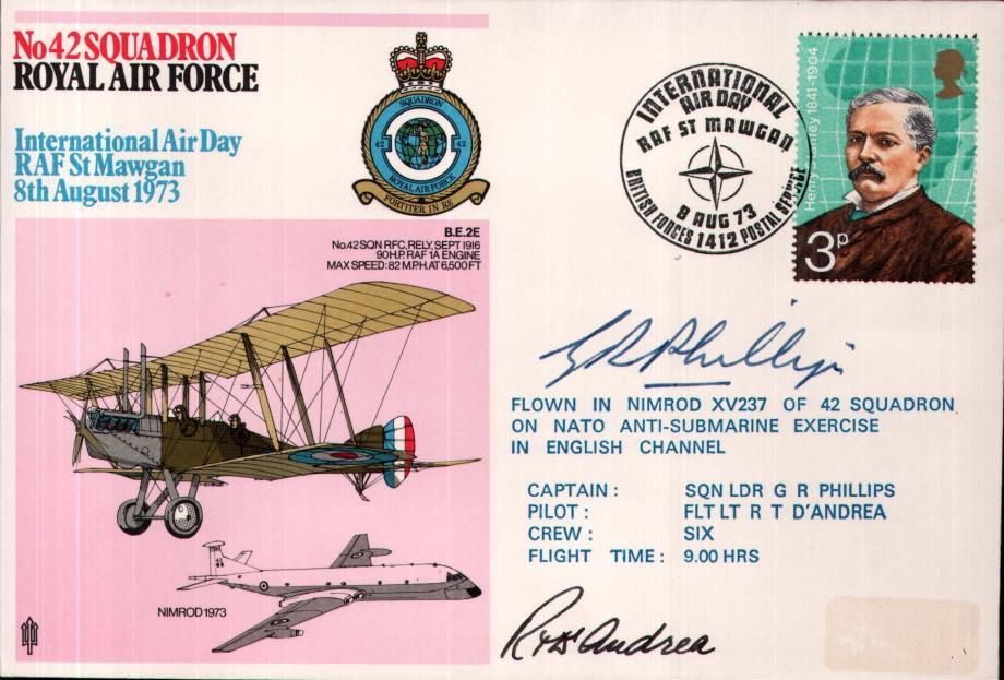 No 42 Squadron cover Crew signed Captain Sq L G R Phillips  Pilot Fl Lt R T D'Andrea