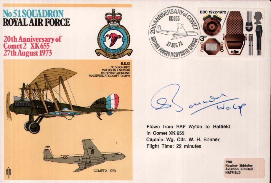 No 51 Squadron cover Captain signed by WC W H Bonner
