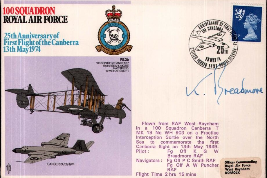 100 Squadron cover Pilot signed by FO K Breadmore
