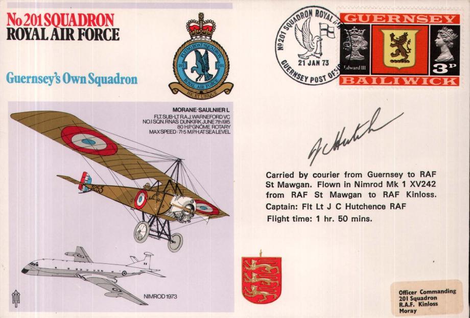 No 201 Squadron cover Pilot signed by Fl Lt J C Hutchence