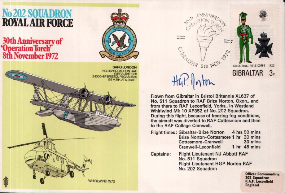 No 202 Squadron cover Captain signed by Fl Lt N J Abbott