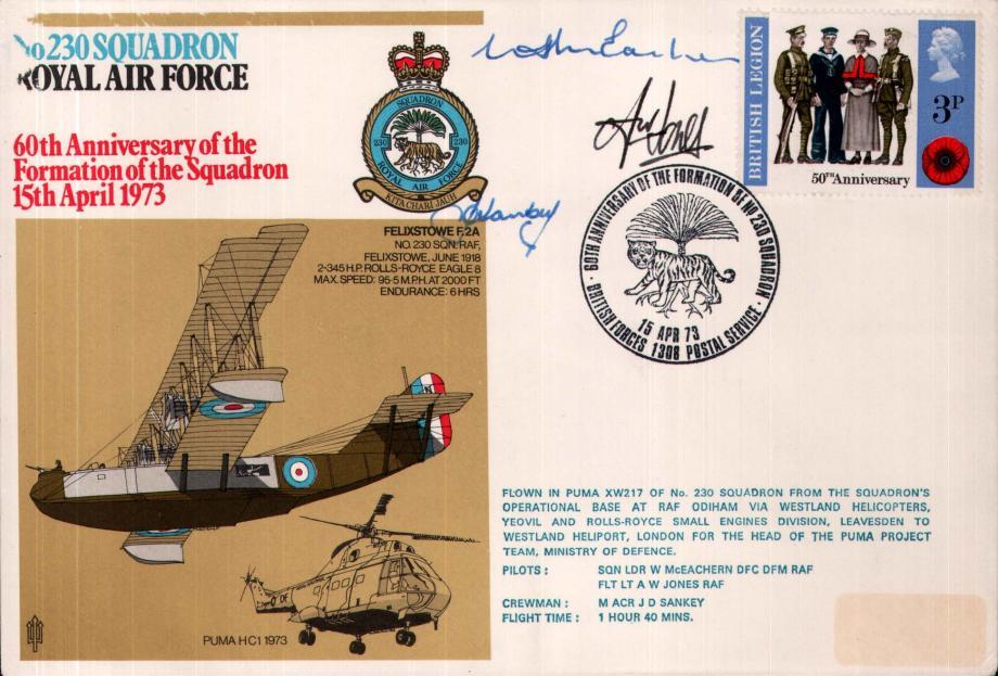 No 230 Squadron cover Pilots Sq L W McEachern and Fl Lt A W Jones  Crewman J D Sankey
