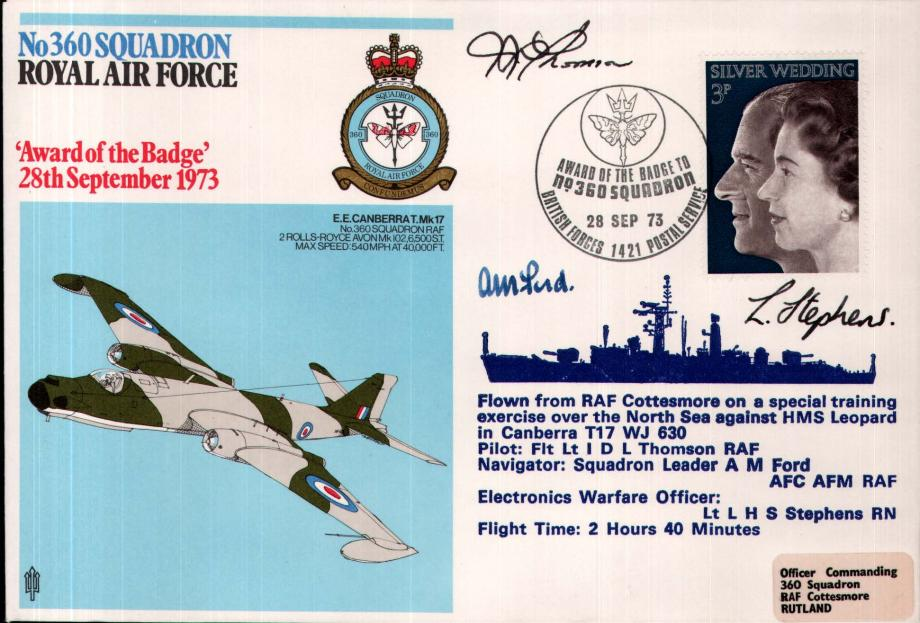 No 360 Squadron cover Crew signed Pilot D L Thompson  Nav  A M Ford  and EWO L H S Stephens