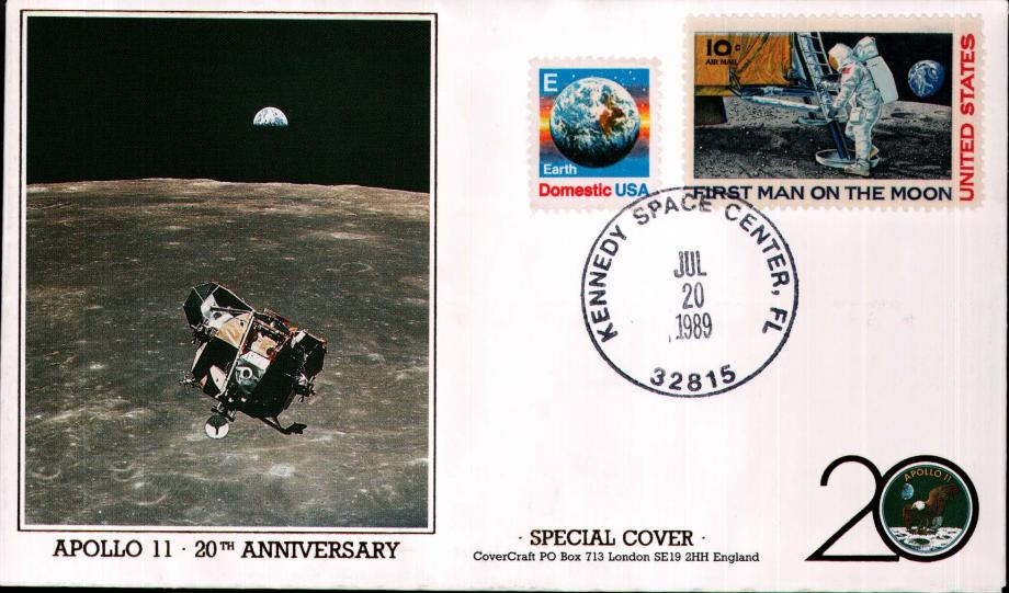 Apollo 11 20th Anniversary cover 20 July 1989
