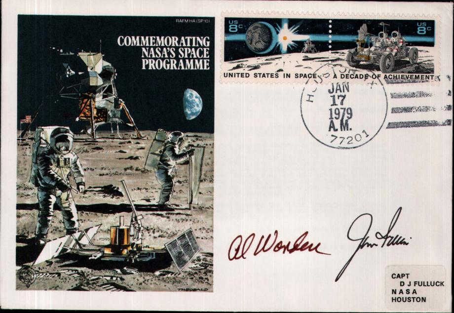 NASAs Space Programme cover Sgd Alf Worden - Module Pilot and James Irwin - Moonwalker