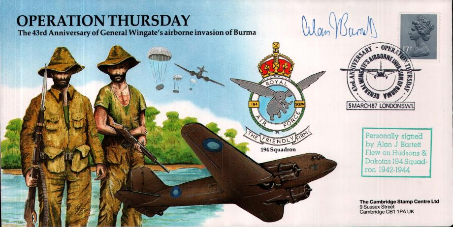 Operation Thursday cover Sgd A J Bartett of 194 Sq
