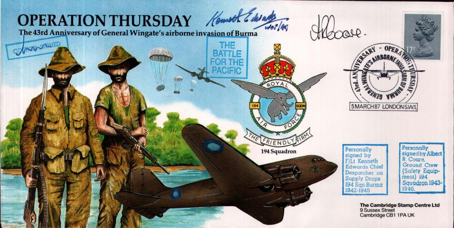 Operation Thursday cover Sgd K Edwards A R Coare and courier