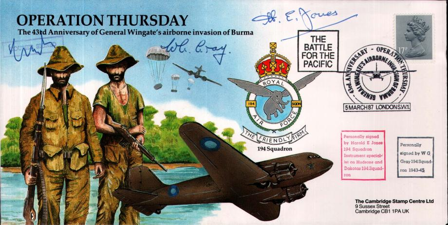 Operation Thursday cover Sgd H E Jones W G Gray and courier