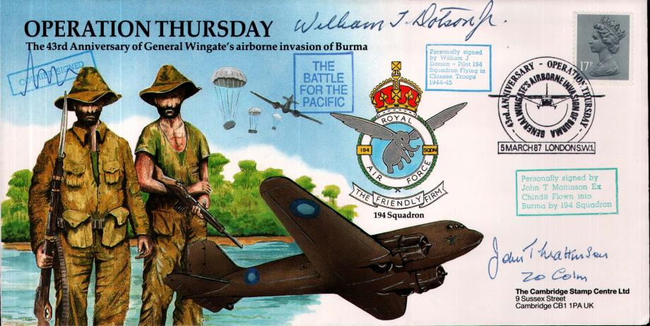 Operation Thursday cover Sgd W J Dotson J T Mattinson and courier