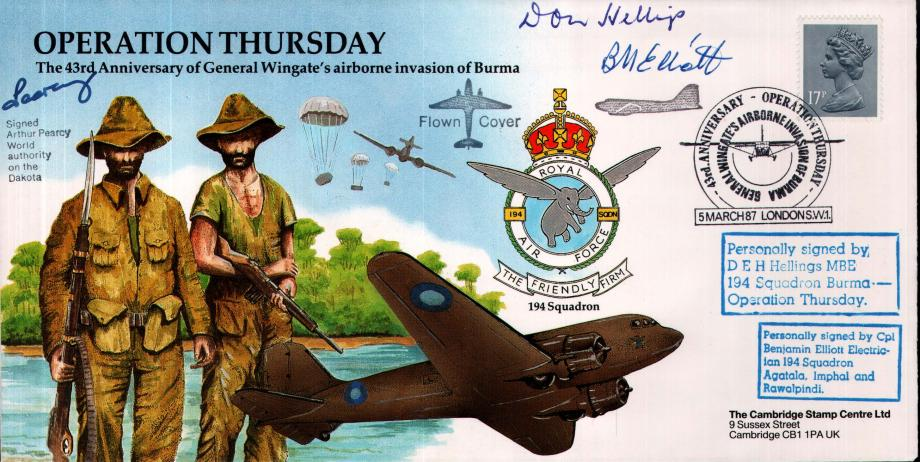Operation Thursday cover Sgd D E H Hellings B Elliott and A Pearcy