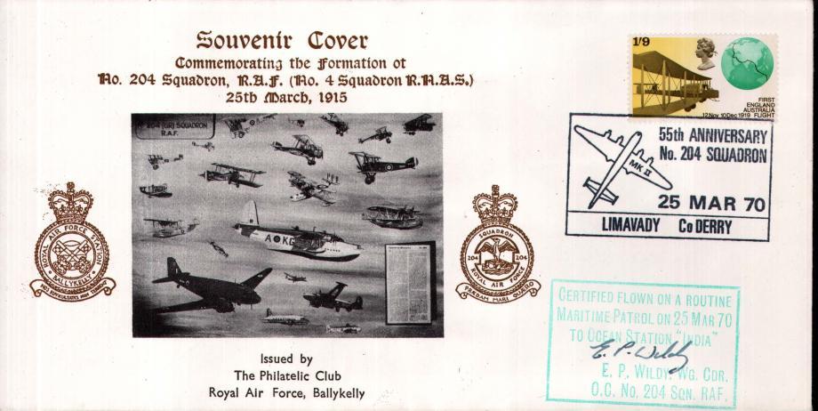 55th Anniversary of 204 Squadron cover Sgd E P Wildy OC of 204 Sq