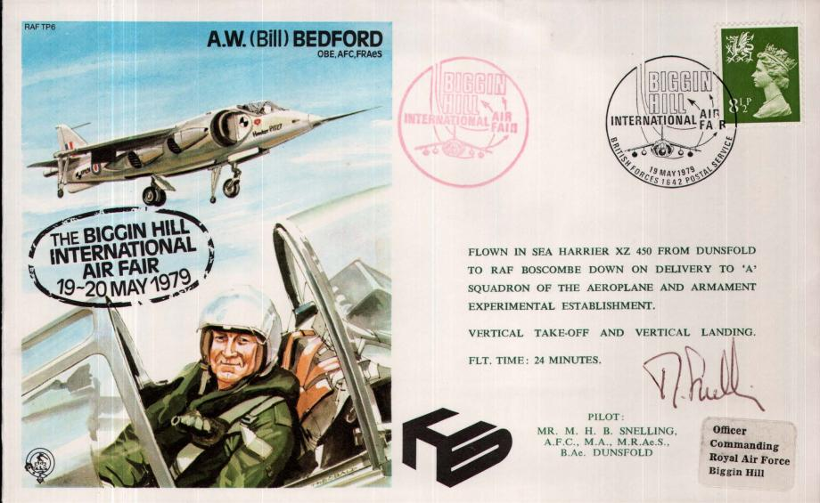 A W Bedford the Test Pilot cover Sgd pilot M H B Snelling