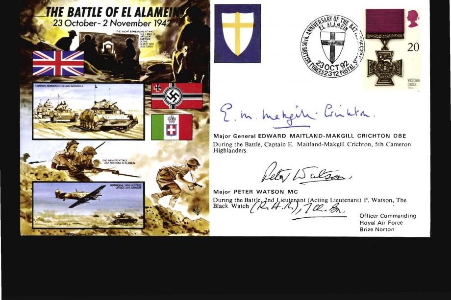 Battle Of El Alamein Cover Signed Maitland-Makgill And Watson
