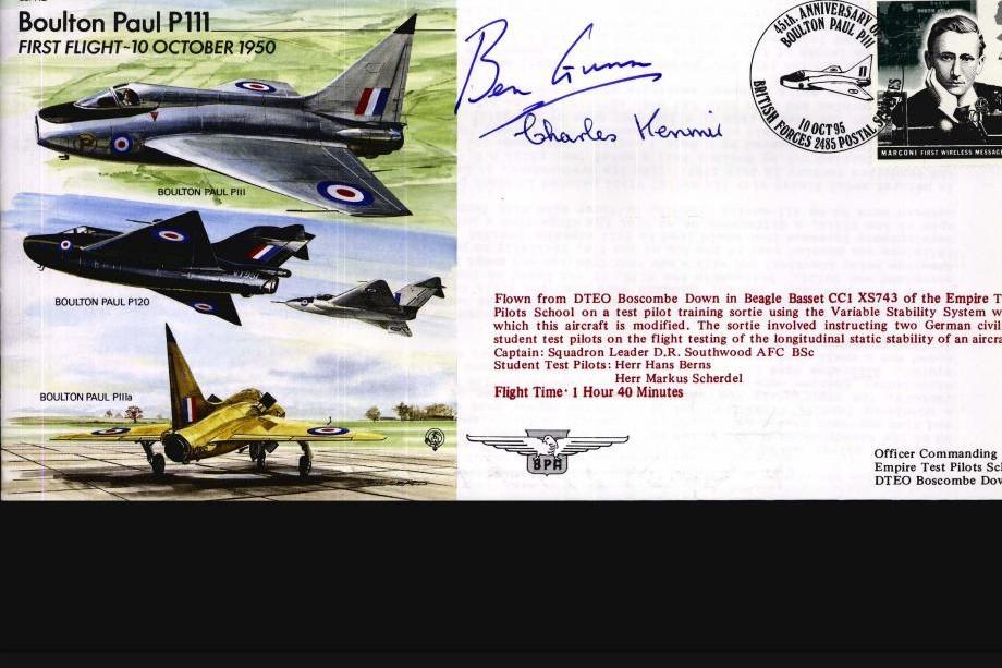 Boulton Paul P111 Cover Signed Test Pilot Benn Gunn