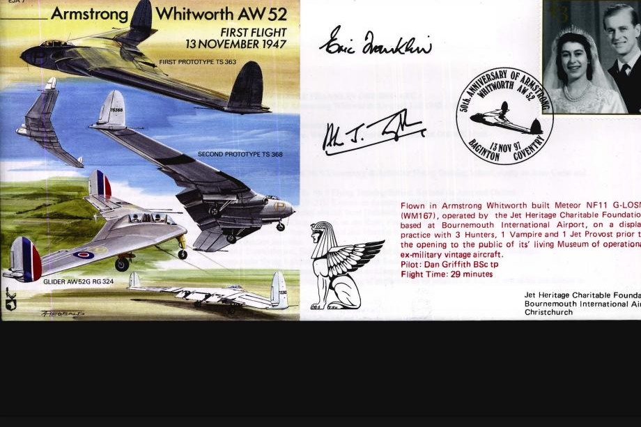 Armstrong Whitworth AW 52 Cover Signed A J Troughton