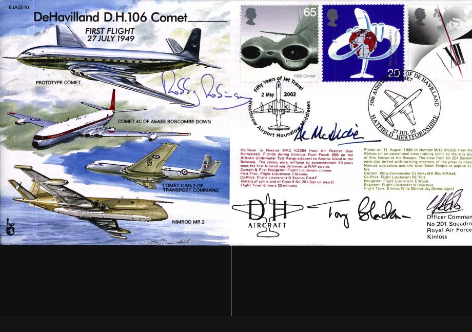 De Havilland D.H 106 Comet Cover Signed By 3 Test Pilots