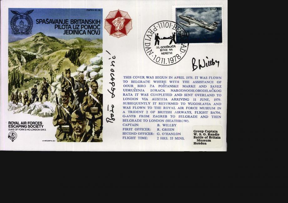 Yugoslavia - Spasavanje Britanskih Pilota Uz Pomoc Jedinica Novj cover Sgd B Willby and B Lazarevic