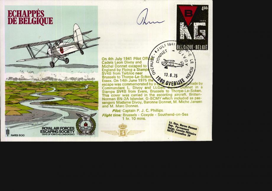 Echappes de Belgique cover Sgd pilot P J C Phillips