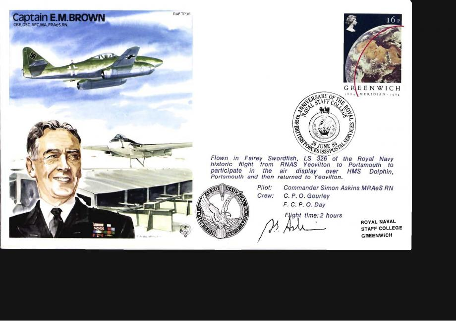 Captain E M Brown the Test Pilot cover Sgd S Askins