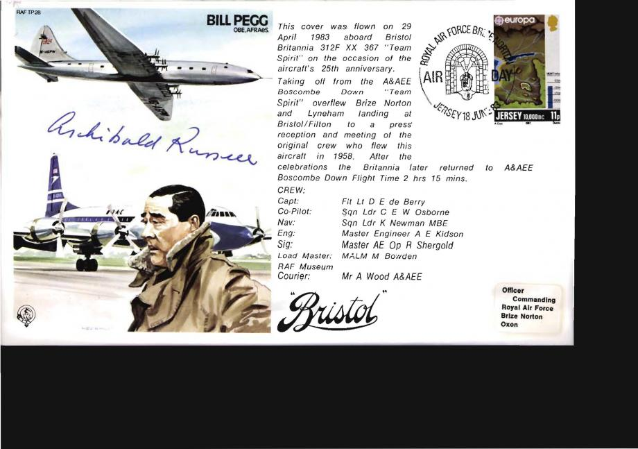 Bill Pegg Test  Pilot cover Sgd Sir Archibald Russell the Concorde Designer
